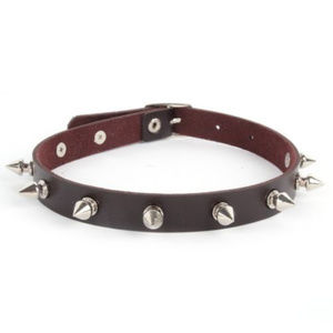 Jewelry - Punk Brown Leather Rivet / Spikes Choker ~
